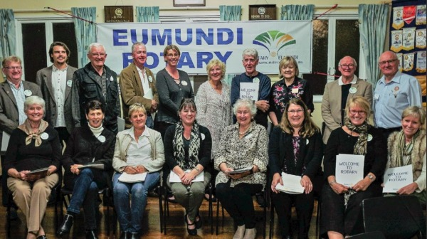 Members of Emundi Rotary Club welcomed 14 new members in July, 2018.  Source: Rotarydownunder.com; November, 2018